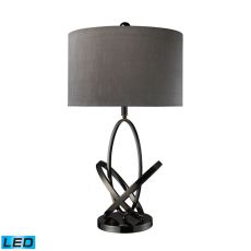 Kinetic Led Table Lamp In Black Nickel With Grey Faux Silk Shade