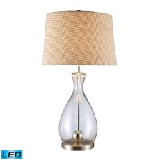 Longport Led Table Lamp In Clear Glass And Chrome With Linen Shade