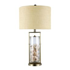 Millisle Table Lamp In Antique Brass And Clear Glass With Shells