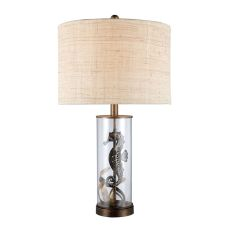 Largo Seahorse Table Lamp In Bronze And Clear Glass With Natural Linen Shade