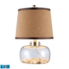 Margate LED Table Lamp In Clear Glass With Shells And Natural Cork Shade