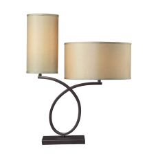 Greenwich Table Lamp In Aged Bronze With Light Gold Shade