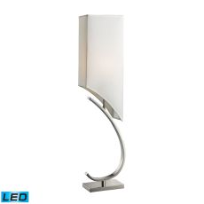 Appleton Led Table Lamp In Polished Nickel With Pure White Shade