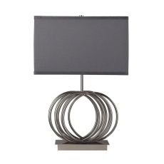 Ekersall Table Lamp In Chrome With Grey Faux Silk Shade