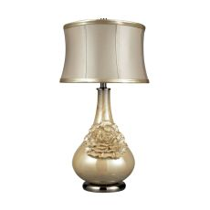 Elenaor Table Lamp In Pearlescent Cream Finish With Cream Shade