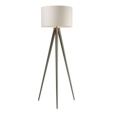 Salford Floor Lamp In Satin Nickel With Off White Linen Shade
