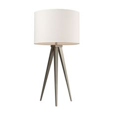 Salford Table Lamp In Satin Nickel With Off White Linen Shade