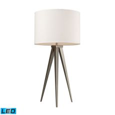 Salford Led Table Lamp In Satin Nickel With Off White Linen Shade