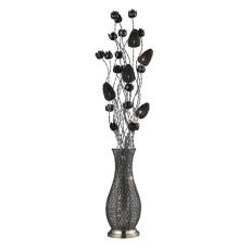 Cyprus Grove Floral Display Floor Lamp In Chrome And Black