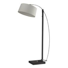 Logan Square Floor Lamp In Dark Brown With Off-White Linen Shade