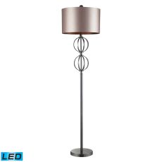 Danforth Led Floor Lamp In Coffee Plating With Champagne Shade