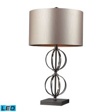 Danforth Led Table Lamp In Coffee Plating With Champagne Shade