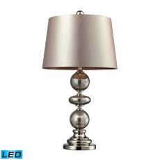 Hollis Led Table Lamp In Antique Mercury Glass And Polished Nickel