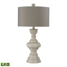 Parisian Plaster Finish Led Table Lamp With Light Grey Shade