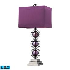 Alva Contemporary Led Table Lamp In Black Nickel And Purple