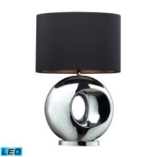 Tobermore Ceramic LED Table Lamp In Chrome With Black Shade