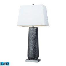 Milan Ceramic Led Table Lamp In Black Pearl And Chrome