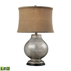 Stonebrook Led Table Lamp In Antique Mercury Glass With Burlap Shade