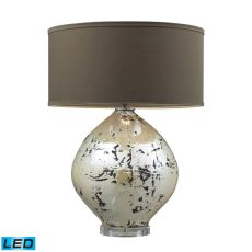 Limerick Ceramic Led Table Lamp In Turrit Gloss Beige With Brown Linen Shade