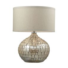 Canaan Ceramic Table Lamp In Cream Pearl With Light Beige Linen Shade
