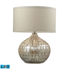 Canaan Ceramic Led Table Lamp In Cream Pearl With Light Beige Linen Shade