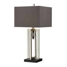 Silver Leaf Table Lamp With Crystal Accents And Grey Shade
