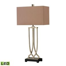 Free Form Iron Led Table Lamp In Antique Silver Leaf Finish