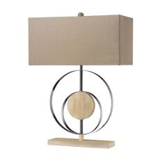 Shiprock Bleached Wood Table Lamp In Chrome