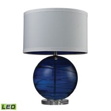 Blown Glass Led Table Lamp With Swirl Detail In Sapphire Blue