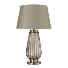 Fallhurst Barley Twist Smoked Glass Table Lamp In Brushed Steel