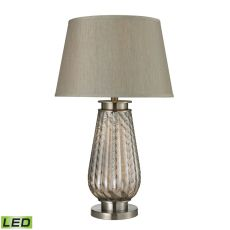 Fallhurst Barley Twist Smoked Glass Led Table Lamp In Brushed Steel