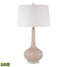 Abbey Lane Ceramic Led Table Lamp In Pastel Pink