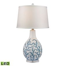 Sixpenny Blue Coral Led Table Lamp In White