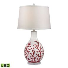 Sixpenny Red Coral LED Table Lamp in White