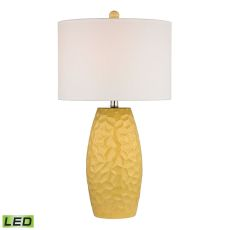 Sunshine Yellow Ceramic Led Table Lamp With White Linen Shade