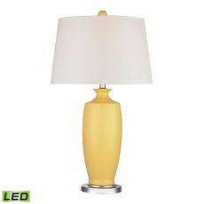 Halisham Ceramic Led Table Lamp In Sunshine Yellow