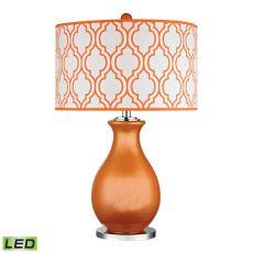 Thatcham Led Table Lamp In Tangerine Orange And Polished Nickel