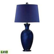 Helensburugh Glass Led Table Lamp In Navy Blue