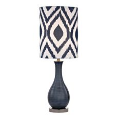 Navy Blue Textured Ceramic Accent Lamp With Printed Shade