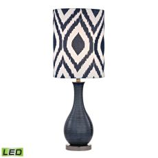 Navy Blue Textured Ceramic Led Accent Lamp With Printed Shade
