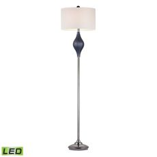 Chester Glass Led Floor Lamp In Navy And Black Nickel