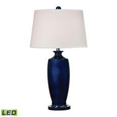 Halisham Ceramic Led Table Lamp In Navy Blue