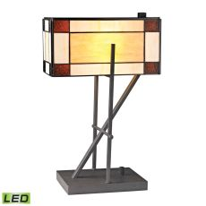 Fort William Tiffany Glass Led Table Lamp In Matte Black