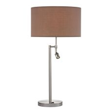 Beaufort Table Lamp In Satin Nickel With Adjustable Led Reading Light