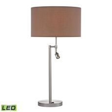 Beaufort Led Table Lamp In Satin Nickel With Adjustable Led Reading Light