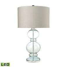 Curvy Glass Led Table Lamp In Light Blue With Textured Linen Shade