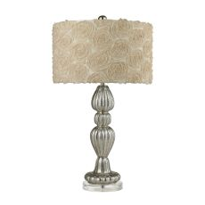 Ribbed Glass Table Lamp In Silver Mercury