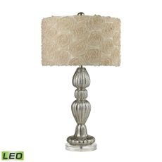 Ribbed Glass Led Table Lamp In Silver Mercury