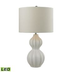 Ribbed Gourd Led Table Lamp In Gloss White Ceramic