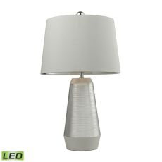 Etched Ceramic Led Table Lamp In Silver And White